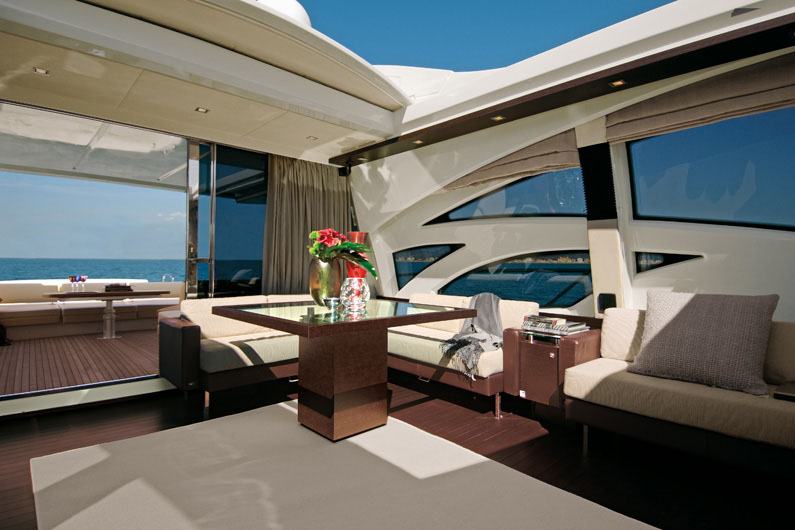 Sporting pedigree - the Azimut 86 S with sunroof. On display at the Ocean Marina Pattaya Boat Show.